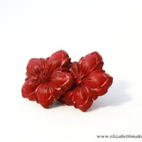 Red Flower Earrings - Mexican Inspired Jewelry - Dia De Los Muertos Model
