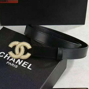 CHANEL pearl Woman Fashion Smooth Buckle Belt Leather Belt H-A-GFPDPF