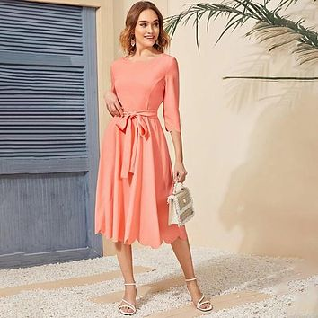 Scallop Edge Skater Belted Maxi Dress