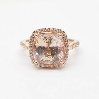 Certified untreated 7.05 carts Cushion Champagne Peach Sapphire rose rose gold engagement ring| Free shipping | SKU 2002 Catalin