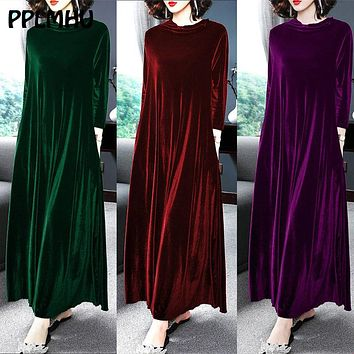 Velvet Dresses Middle Aged Women Winter Plus Size 6XL 5XL Casual Loose Long Sleeve Solid Color O-neck Maxi Vintage Vestidos