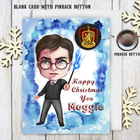 Harry Potter Christmas Card with Pinback Button