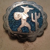 Vintage Mexican Brooch Pendant Silver Blue Inlay Southwestern Jewelry
