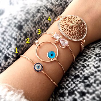 Evil eye bracelet, rose gold bracelet, bangle bracelet, zirconia bracelet, adjustable bracelet