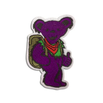 GRATEFUL DEAD PATCH - Purple, Dancing Bear, Iron On, Handmade, Vintage, Embroidered, Patches, Jerry Garcia, Rare, The Dead, Gift Idea