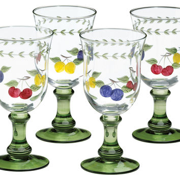 French Garden Water Goblets, Set of 4, Tumblers, Water & Juice