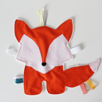CUSTOM Fox Taggie, Soft, Textured toy, Minky, Ribbons, Sensory toy, Tactile Stimulation, Tags, Cute baby gift