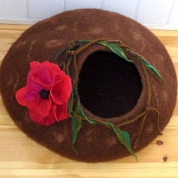 Cat bed - cat cave - cat house - eco-friendly handmade felted wool cat bed -brown+ red poppies Small Dog Bed