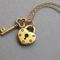 Gold lock and key necklace, gold plated pewter, small charm necklace