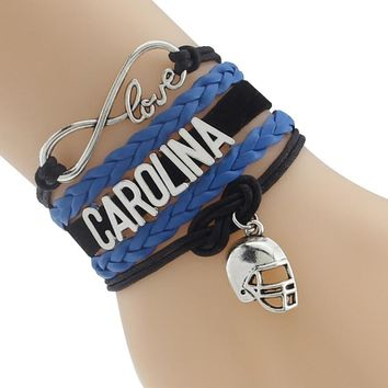 Infinity Love Carolina State Panthers Football Sports Team Bracelet blue black Customize Sport Sport friendship Bracelets