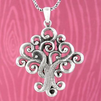 Mythical Tree of Life Necklace with Curling Branches and Roots