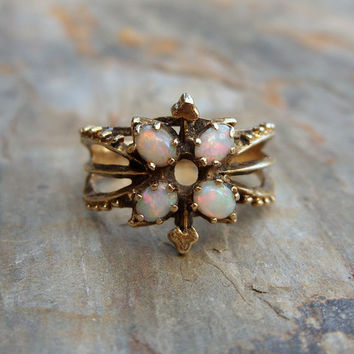 Vintage 14k Gold Natural Opal Statement Ring with Clover or Club Suit Detail - Four Stone Ring with October Birthstone - Size 6