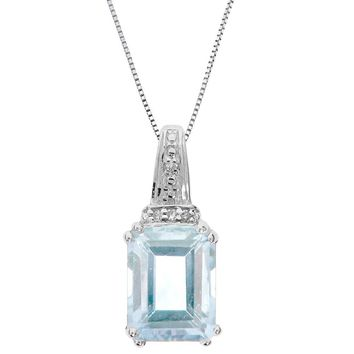 Sterling Silver Pendant with Emerald-Cut Aquamarine and Diamond Accent