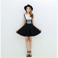 Pleated Suspender Skirt