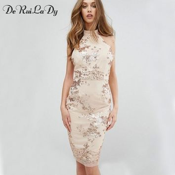 DeRuiLaDy 2018 Women Sexy Sequins Dress Female Off Shoulder Backless Bodycon Dresses Luxury Party Club Wear Dress vestidos