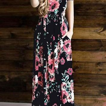 Black Floral Pockets Ruffle Round Neck Casual Maxi Dress