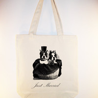 Boston Terrier Bride and Groom Wedding Just Married Tote --  Larger Zipper Top Style and personalization available, Image in ANY COLOR - $12.00 - Handmade Crafts by WhimsyDesigns