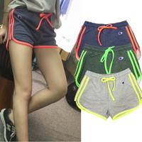 Flourescent Color Drawstring Terry Shorts
