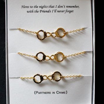 3 Partners In Crime Matching Best Friends Bracelets Gold Plated Handcuffs Bracelet Charm