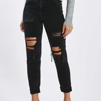 MOTO Washed Black Super Rip Mom Jeans | Topshop