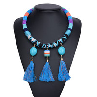 Women Fashion Acrylic Beads Tassel Pendant Statement Necklace Multicolor Chunky Chain Collar Maxi Necklace Jewelry 6604