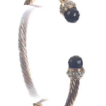 Black Bendable Twisted Metal Glass Stone Cuff Bracelet
