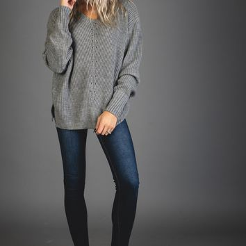 V Neck Eyelet Hooded Sweater in HEATHER GREY