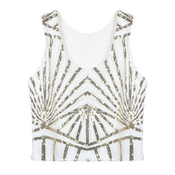 White Sequined Striped Crop Vest