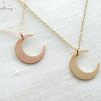Gold Crescent Moon Necklace Crescent Moon Charm Crescent Moon Pendant 14K Gold Filled Necklace Gold Moon Jewelry Rose gold filled Moon
