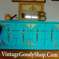 TEAL Shabby Chic Dresser / Buffet / Console HOLLYWOOD Regency