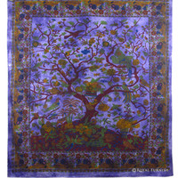 Queen Size Purple Tree Of Life Indian Bohemian Wall Tapestry Bedspread