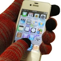 Text Gloves - Pair of Texting Glove For Touch Screen Phones (Red/Grey) (Red/Grey)