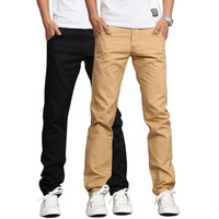 2016 New Design Casual Men pants Cotton Slim Pant Straight Trousers Fashion Business Solid Khaki Black Pants Men Plus Size 38