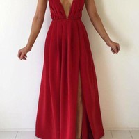 Spaghetti Strap Red Long Simple Prom Dress