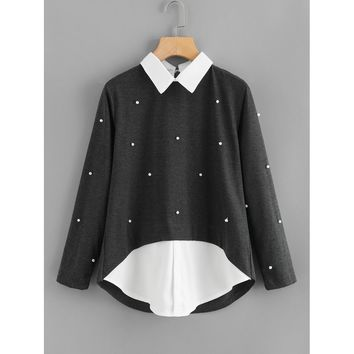 Contrast Collar 2 In 1 Pearl Beading Blouse