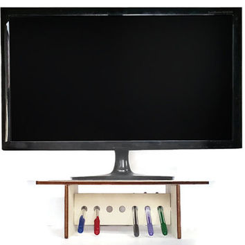 Laser cut wood monitor stand with pen holder,desk organizer,desk accessories,computer stand,organized desk,tv riser,monitor riser,tv stand