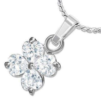 """Shamrock"" Cubic Zirconia Four Leaf Clover Pendant Necklace"