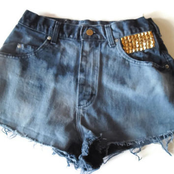 Vintage Upcycled High Waisted Navy Blue Clouds Jean Shorts 80s 90s Bleached Studded Gold Pyramid Medium  #10
