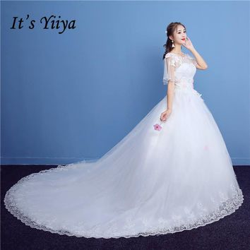 It's YiiYa Off White O-Neck Half Sleeve Sales Wedding Dresses Sexy Backless Quality Beading Luxury Crystal Wedding Frock TD01