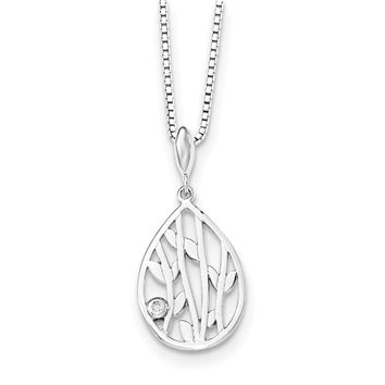 Diamond Leaf Teardrop Necklace in Rhodium Plated Silver, 18-20 Inch