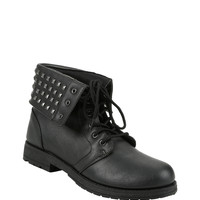 Black Studded Fold-Over Ankle Boots