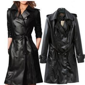 x140002 European style temperament Slim high-washed leather black leather coat women double-breasted
