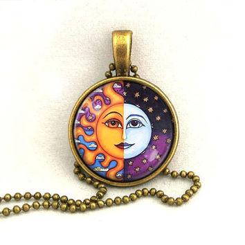 10% SALE Necklace Sun and Moon Celestial Art Pendant Gift