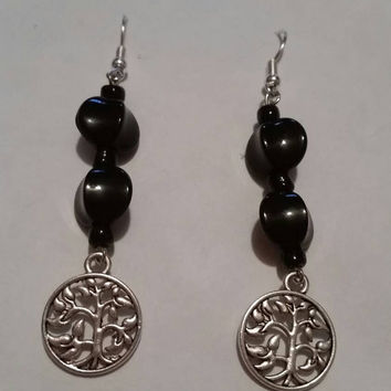 Tree of Life and Black Beads Dangle Earrings Anniversary Present Birthday Gift Adult Teen Child Little Girl Gifts for Her