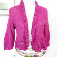 Hot pink sweater, pink hand knit cardigan shrug with shrug pin, crochet edges, gift for her