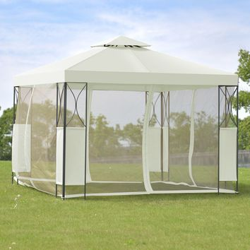 Goplus 2 -Tier 10 'X10 'Gazebo Canopy Tent Shelter Wedding Party Tent Awning Steel Patio Garden Beige Cover OP3116BE