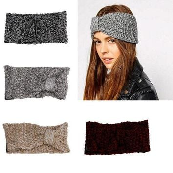 Women Crochet Bow Turban Knitted Head Wrap Headband Fashion Winter Ear Hair Band