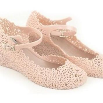 Soft Jelly Rubber Floral Wedges