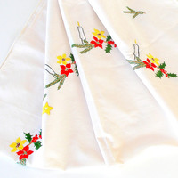 ON SALE Vintage Christmas Tablecloth, Holiday Table Topper, Hand Embroidered, Vintage Holiday Decor, Holiday Table Linens.