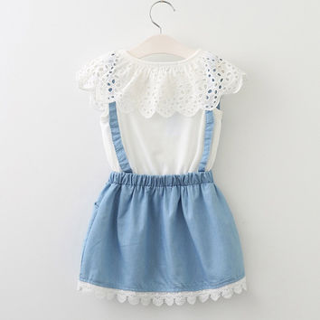 Casual Blue Lace Ribbon Dress